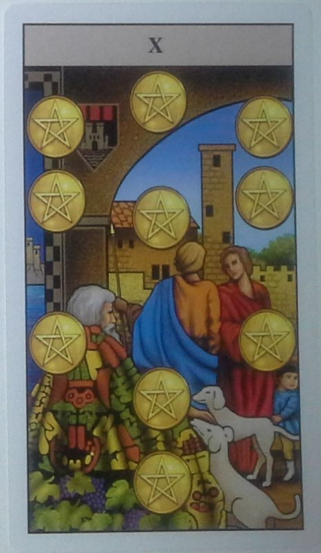 Dez de Ouros Rider-Waite Tarot